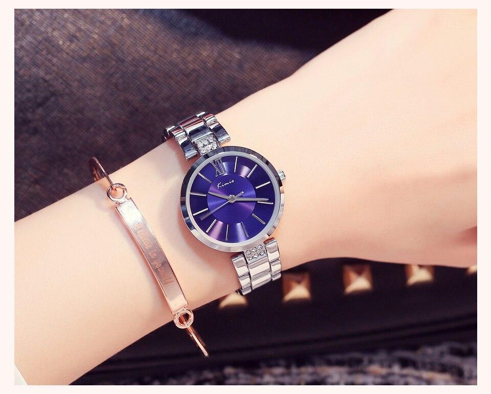 KIMIO Thin Clock Women Fashion Simple Watches Rhinestones Dress Woman Watch Rose Gold Quartz Ladies Women's Watch Wristwatch 12