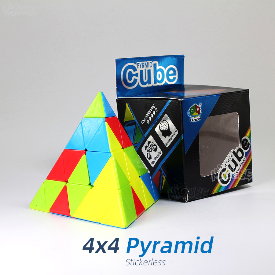 Fanxin Pyramid 4x4 Pyraminxed 4x4x4 Magic Cubes Speed Puzzle Stickerless Professional Educational Toys For Children Cubo Magico