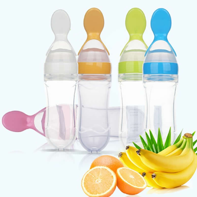 Baby Rice Paste Bottle Vegetable Fruit Feeding Silicone Milk Squeeze Spoon Baby Food Supplement Bottle Rice Paste Spoon