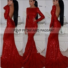 Long Red Mermaid Prom Dresses 2017 Boat Neck Long Sleeve Backless Sequin Prom Dress With Train