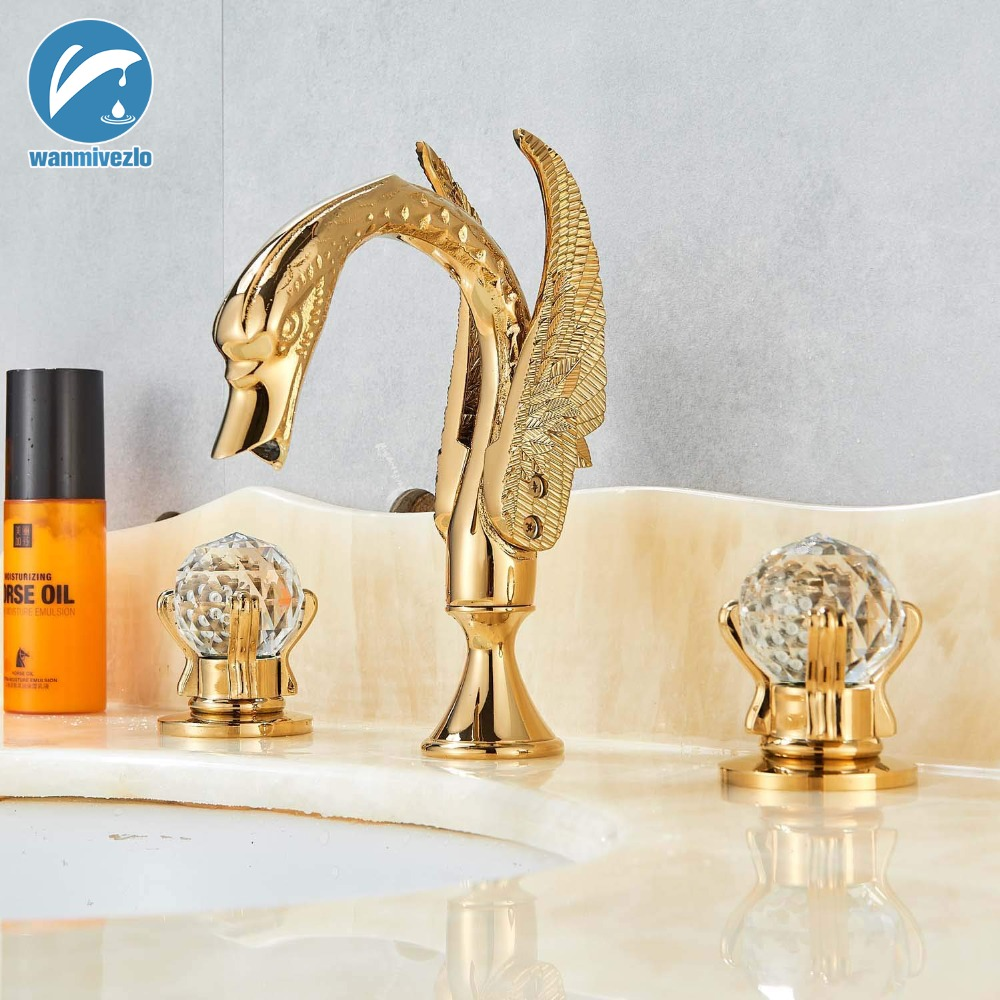Energetic Widespread Bathroom Sink Tap Polished Gold Swan Two Glass Handles 3 Hole Mixer Elegant Tap