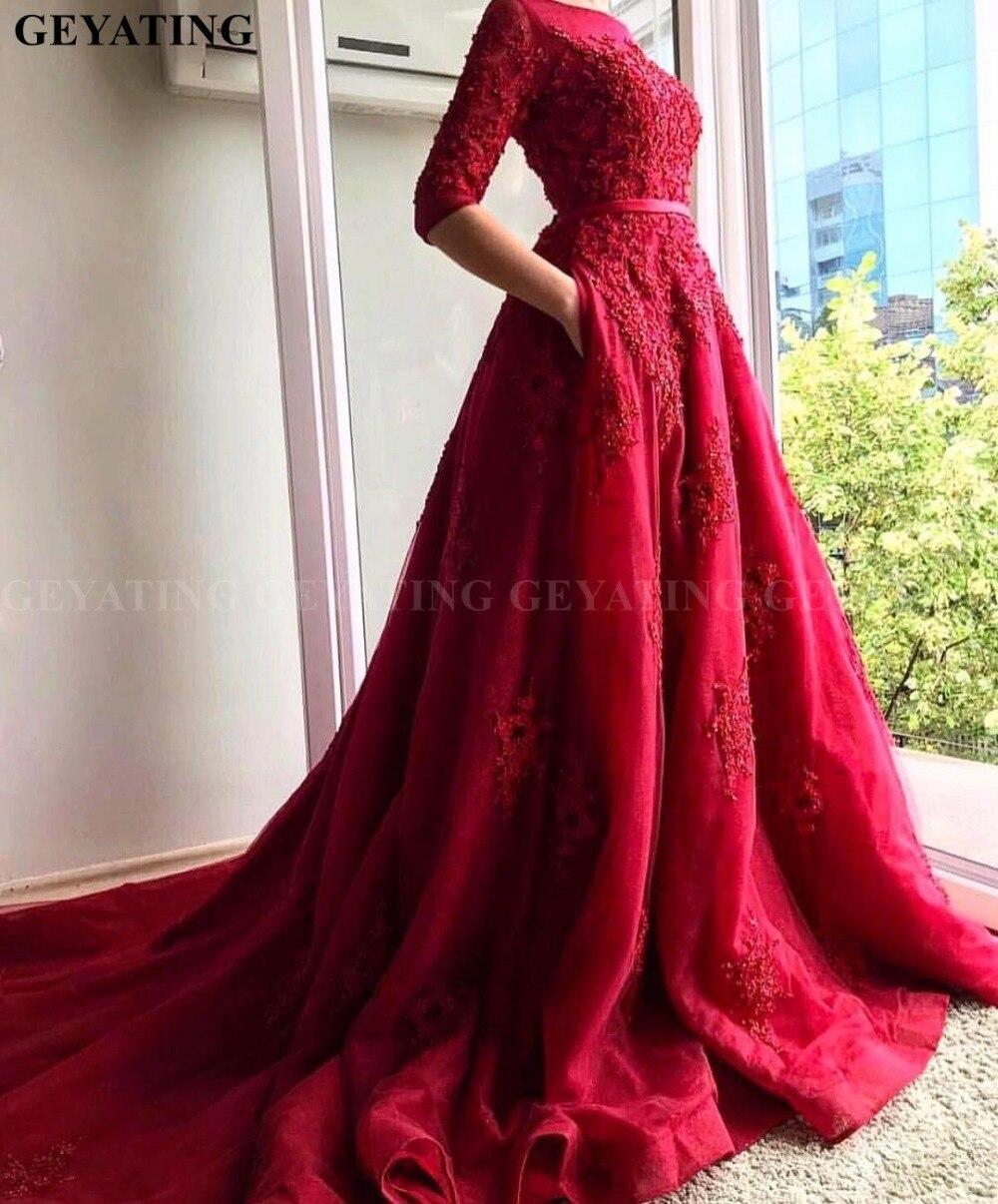 Elegant 3/4 Long Sleeves Red Engagement Evening Dresses