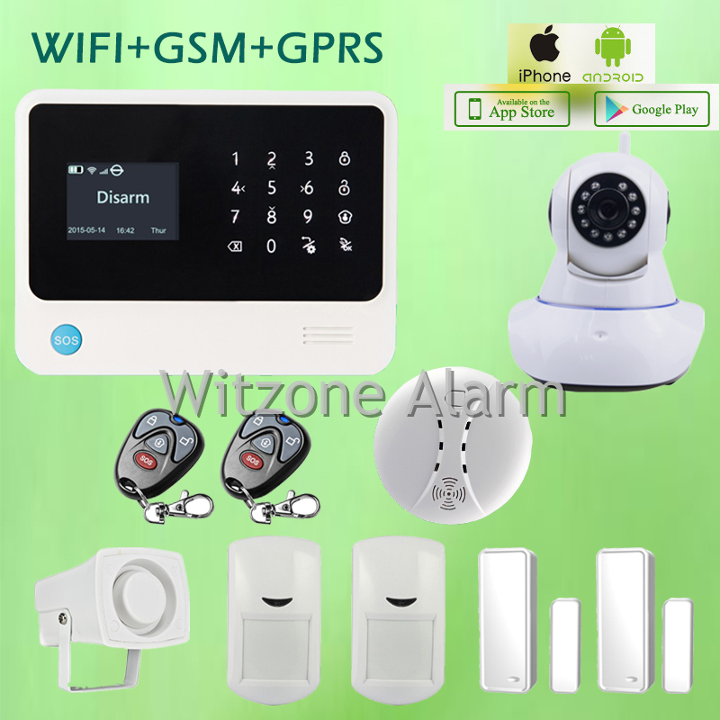 GSM WIFI alarm security systems G90B Android IOS APP controlled touch keyboard LCD display with wifi IP camera, free shipping new wifi dmx controller controlled by android or ios system wifi multi point controller wf310 free shipping