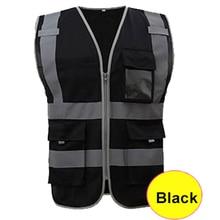 SFvest безопасный светоотражающий жилет строительный жилет защитная одежда Рабочий жилет мульти карман черный жилет