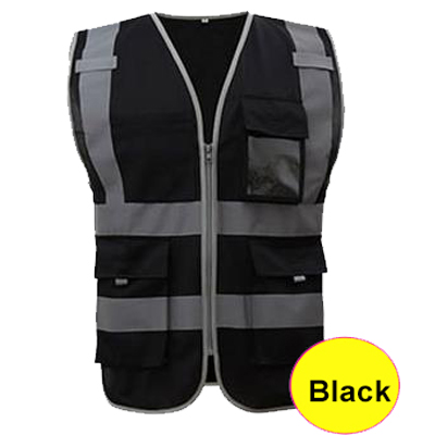 SFvest Safety Reflective Vest  Construction Building Vest Safety Clothing Work Vest Multi Pocket Black Vest