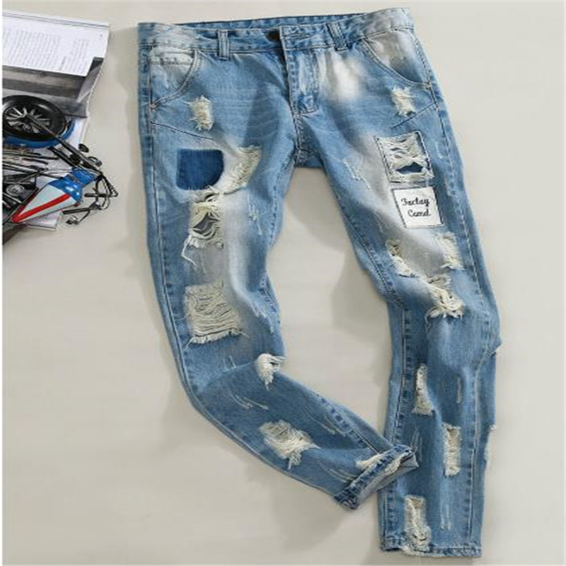 Men Light Blue Denim Jeans New Spring Holes Skinny Jeans Slim Jean Pants Men Pencil Pants Long Jeans Size 36