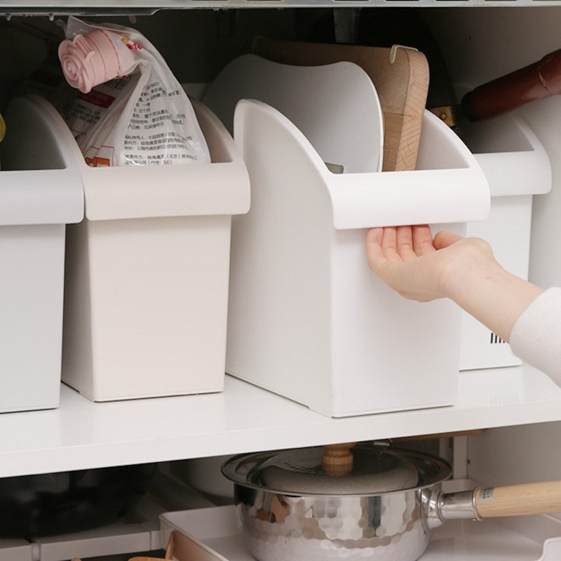 Kitchen cabinet storage push-pull box thick plastic debris box household storage storage pot rack with slippery XI3151608