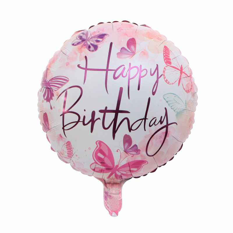NEW 18inch Happy Birthday Pink Flower butterfly Balloons Sweet Party Decoration Balloon Holiday  Inflatable Foil Ball kids toy
