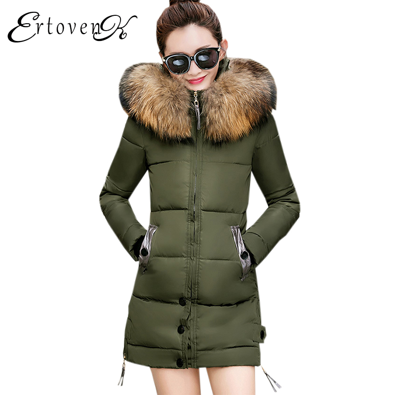 Thick Warm Female Outerwear Winter Jacket Women 2017 New Slim Feather Padded Hooded Cotton Coat Removable  Fur collar parkas C31 2017 winter new warm thick long coats for women stand collar slim parkas outerwear cotton padded jacket overcoat xxl