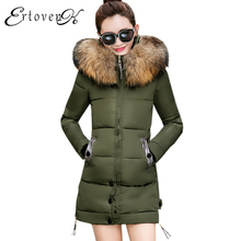 Thick Warm Female Outerwear Winter Jacket Women 2017 New Slim Feather Padded Hooded Cotton Coat Removable  Fur collar parkas C31