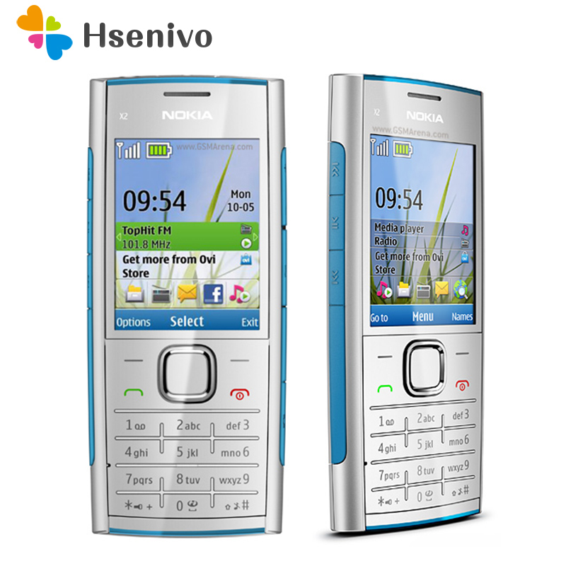 X2 Original Nokia X2-00 phone Bluetooth FM JAVA 5MP Unlocked Mobile Phone with English/Russia/Hebrew/Arabic Keyboard Free shipp