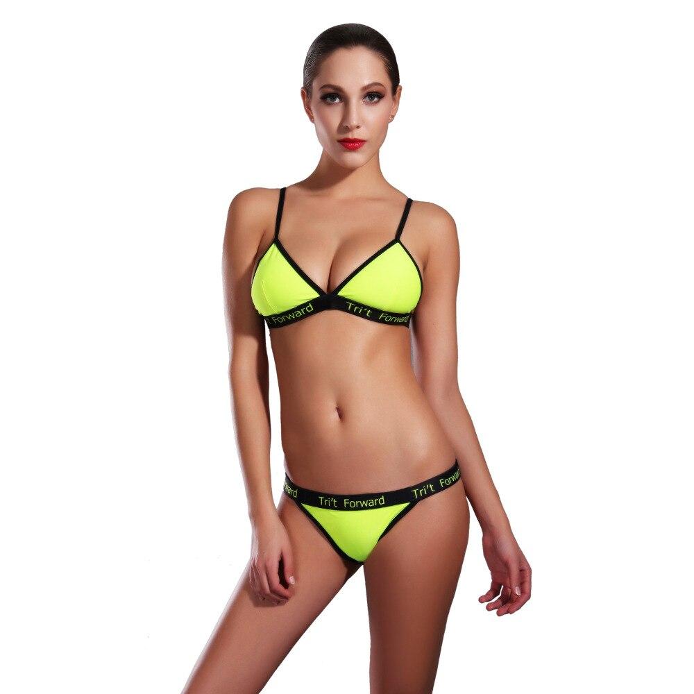 2018 Sport Bikini Women swimwear Sexy Low Waist Swimwear Female Sports Swimming Suit yellow Bathing Suit KJ1641