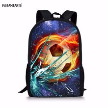 74429719ec4 INSTANTARTS Cool Ice Fire Foot Ball Print Backpacks for Teen Boys Soccerly  Design Children Schoolbags Students