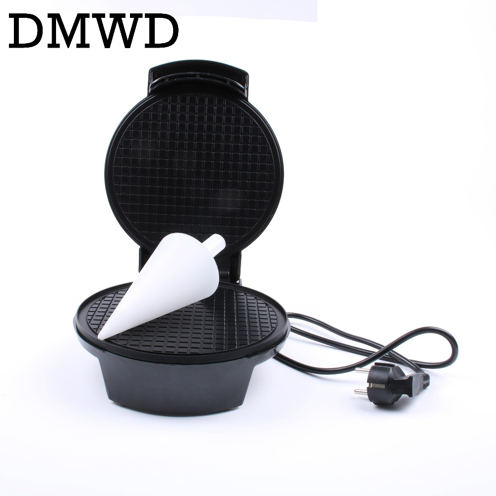 DMWD Electric Egg Roll Maker Crispy eggs Omelet Mold crepe baking Pan Waffle Pancake Bakeware DIY ice cream cone machine EU plug free dhlship to your home dhl ship electric fry ice cream machine one pan milk ice roll machine r410 fried ice pan machine