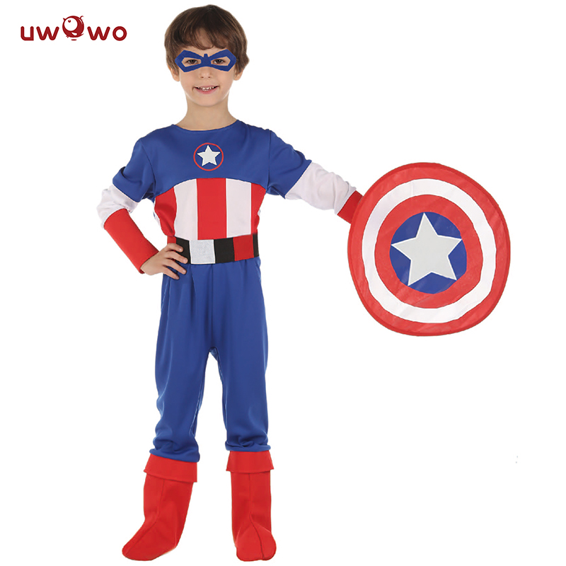 UWOWO Boys Captain America Costume Party Anime Cosplay Halloween Costume For kids Child Anime Cosplay Captain America Shield