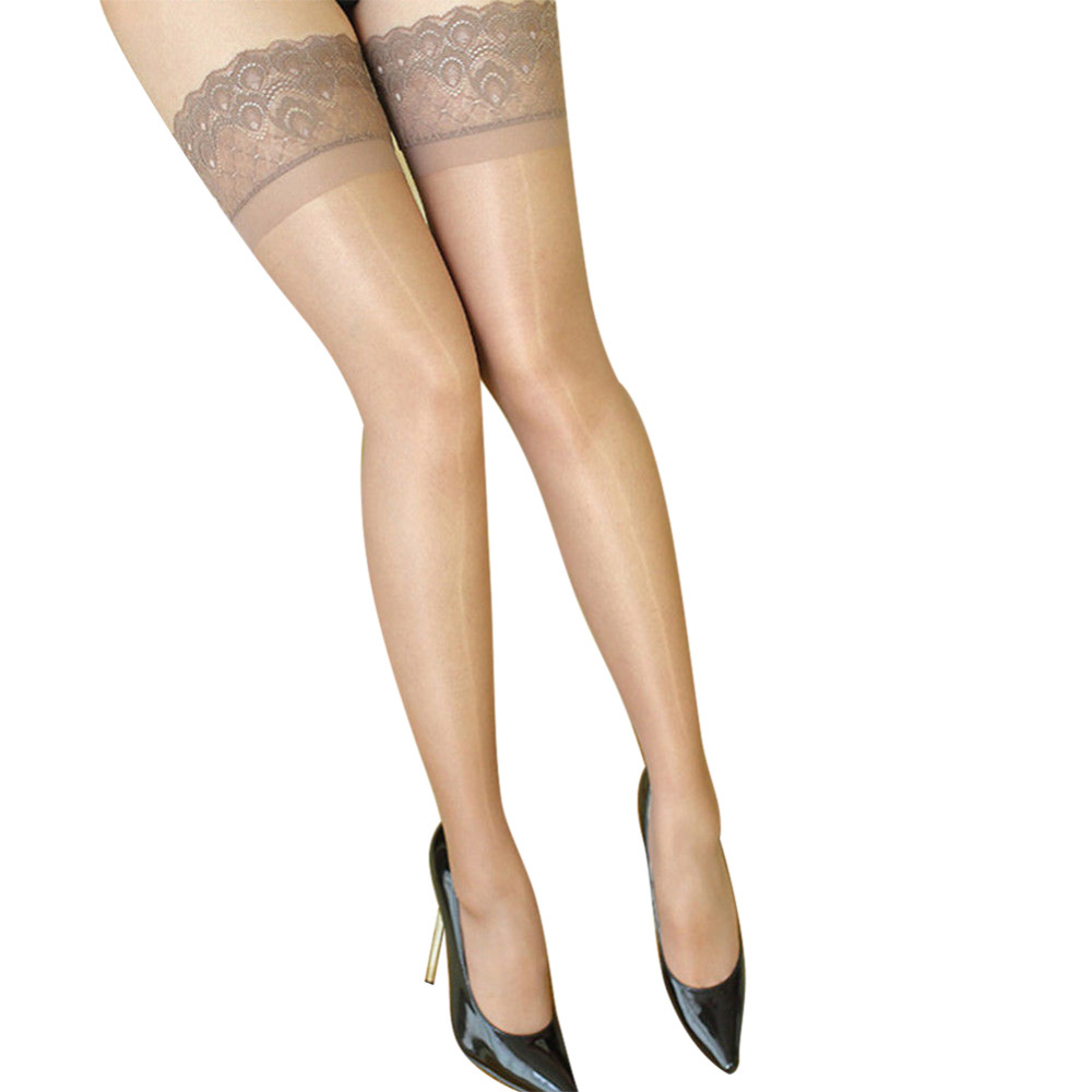 0e16904eb59 Women Stocking Ultra Slim Shiny Sheer Lace Top Thigh Highs Silk Skinny Stockings  Hold Ups One Size For Ladies Party Accessories-in Stockings from Underwear  ...