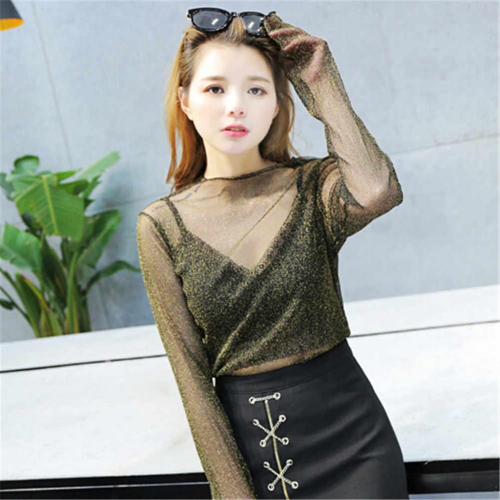 קוריאני אופנה סקסי כוכב רשת שקוף חולצות חולצות בגדי קמטים עליון בגד ארוך שרוול נטו לבנות מעיל