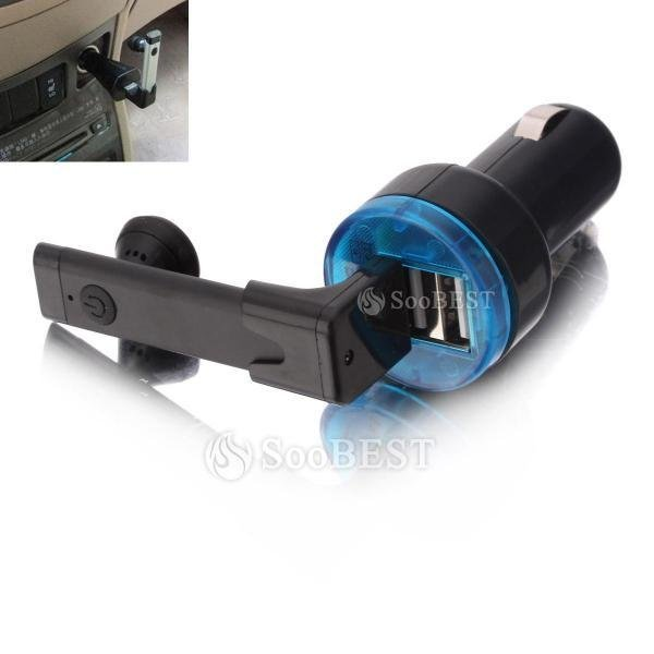 Free shipping Car Bluetooth Headphone BH021C2 Black and Multifuntion Dual USB Port Car Charger for Charging iPad iPhone