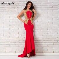 18 New arrival Scoop Neck Sleeveless Gown Appliques Floor Length Mermaid long Elegant Evening Dress Plus Size vestido de festa