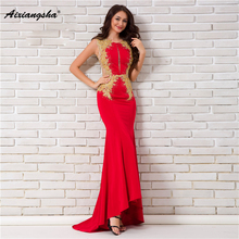 18 New arrival Scoop-Neck Sleeveless Gown Appliques Floor-Length Mermaid long  Elegant Evening 93f96b8d779f