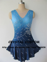 Blue Girls Figure Skating Dress New Brand Ice Skating Dresses Custom made For Competition DR4825