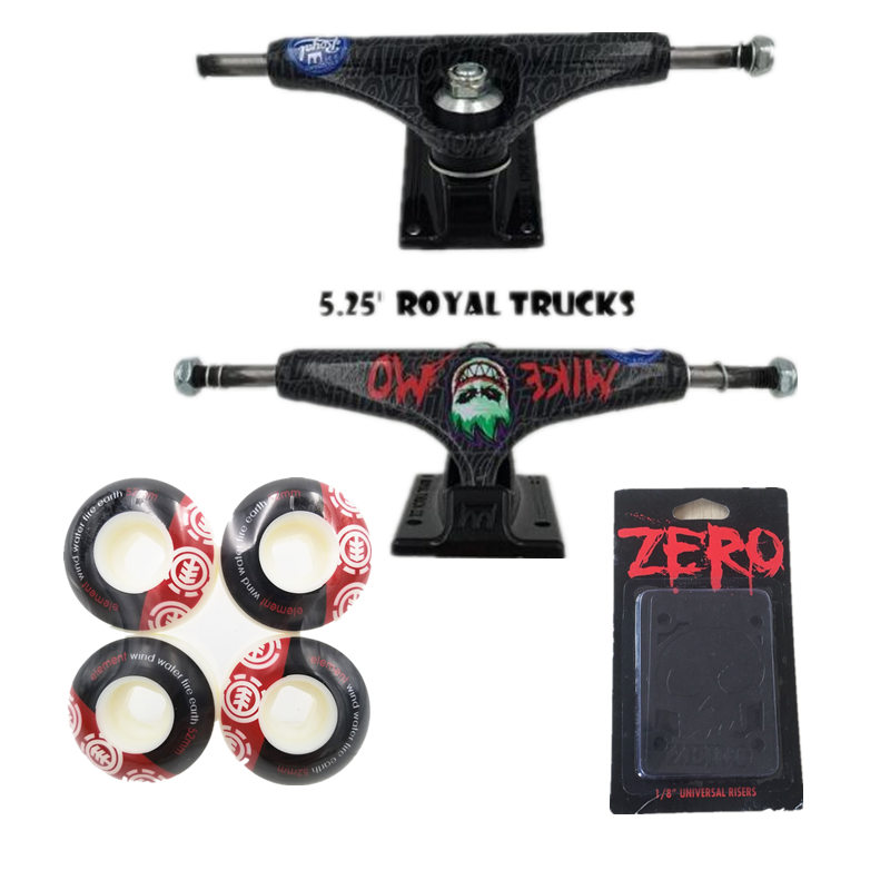 "ROYAL Skateboard Trucks 5.25"" Skate 52mm Skateboard Wheels & ZERO Protection Riser Pads Skateboarding Accessories"
