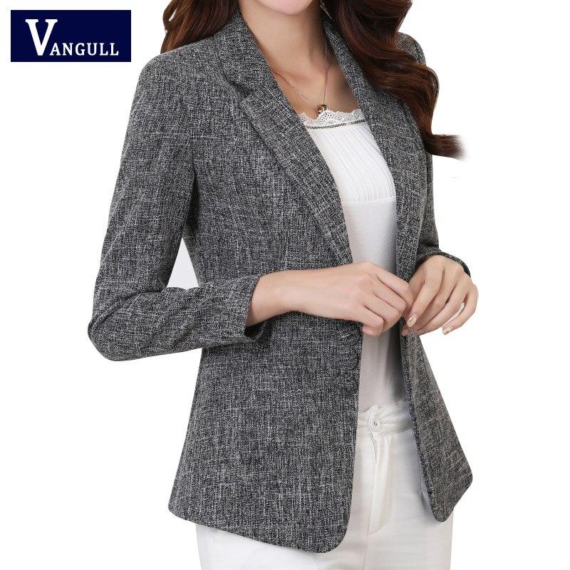 Vangull Plus Size 5XL Elegant Business Lady Jacket New 2018 New Women Full Sleeve Work Blazer Female Casual Office Lady Coat
