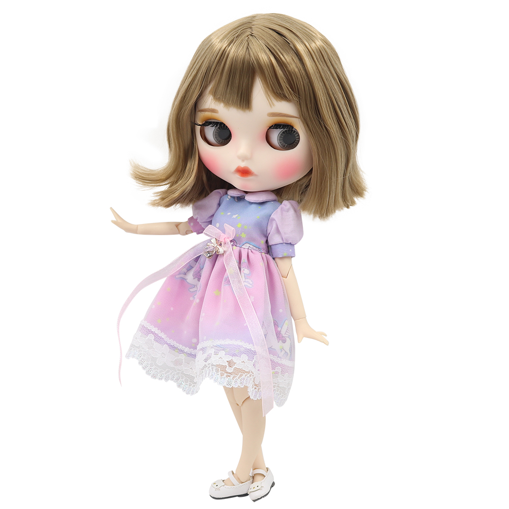 factory blyth doll 1 6 bjd white skin joint body short brown hair new matte face