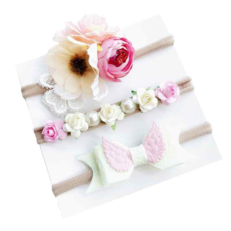3Pcs/set Kids Girl Baby Toddler Flower Headband Hair Band Headwear maquiagem infantil newborn photography accessories retro 0718