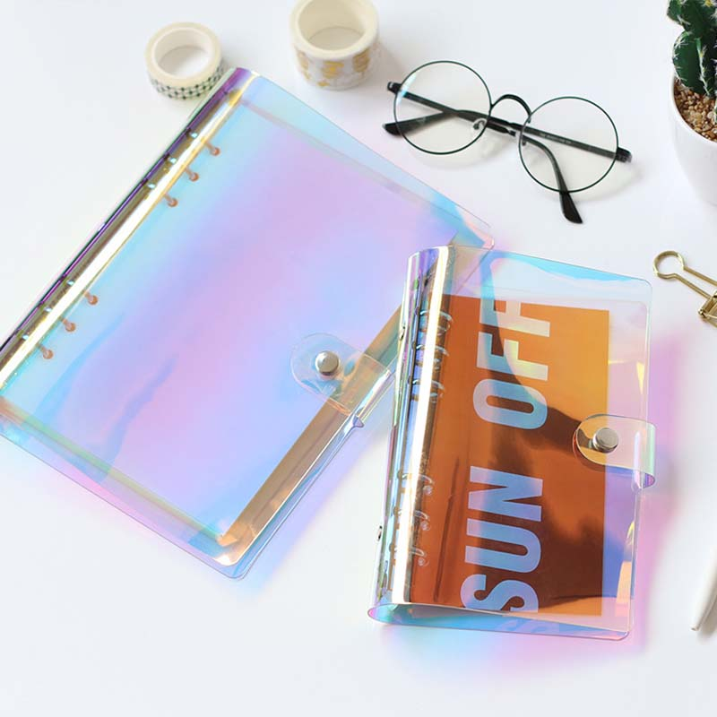 Planner Time A5 A6 Notebook Shell Colorful PVC Transparent Book Spiral Binder Replacement Cover 6 Hole Loose Leaf Notepad Shell a5 a6 a7 pvc 6holes spiral shell cover notebook diary notepad sheet sheel protector loose leaf