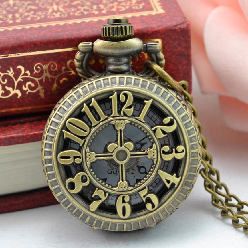 Pocket Watch Steampunk 2017 Retro Design Bronze Necklace Round Dial Fob Watch Gift Men's Pocket Watches with Chain Dec07 unique smooth case pocket watch mechanical automatic watches with pendant chain necklace men women gift relogio de bolso