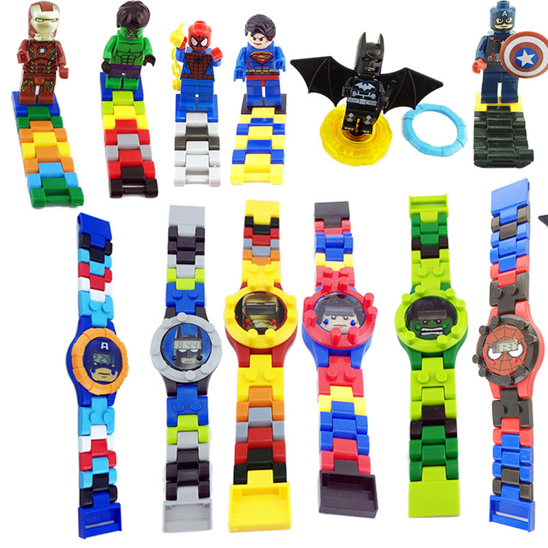 N001 Kids Watches Spiderman Ironman Batman Hulk Moana Princess Building Blocks Figures Children Watch