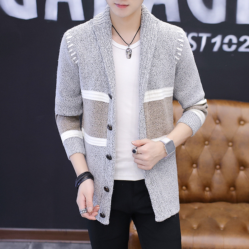 Autumn Winter 2019 Fashion Korean Style Plus Size Sweater Tops Men Long-Sleeved Off White Sweater Wool Cardigan Casual Jacket