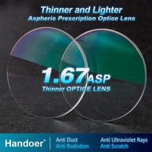 Линзы Handoer с высоким индексом 1,67, антирадиационная защита, асферические линзы с одним зрением и защитой от УФ лучей, линзы по рецепту, 2 шт.