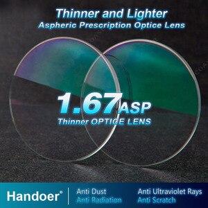Image 1 - Линзы Handoer с высоким индексом 1,67, антирадиационная защита, асферические линзы с одним зрением и защитой от УФ лучей, линзы по рецепту, 2 шт.