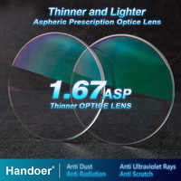 Handoer High Index 1.67 Anti-Radiation Protection Optical Single Vision Lens Aspheric Anti-UV Prescription Lenses,2Pcs of Lenses