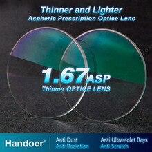 Handoer high index 1.67 방사 방지 광학 단일 비전 렌즈 비구면 anti uv 처방 렌즈, 렌즈 2 개