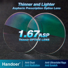 Handoer lentes de prescrição anti radiação, alto índice 1.67, lente ótica de visão única, lentes anti uv asféricas, 2 peças de lentes