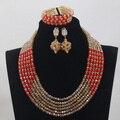 Moda Granos Cristalinos de Nigerianos Collar Pulsera Aretes de Oro Rojo de La Boda Africana Beads Necklace Set WD805