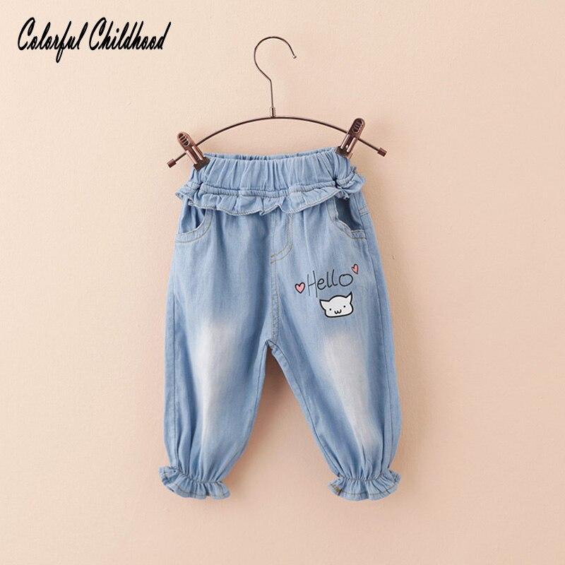 2017 Spring Autumn Baby Girls Jeans Kids Cartoon Cat Cool Washing Denim Pants Toddler Girls All Match Pants Children Clothes