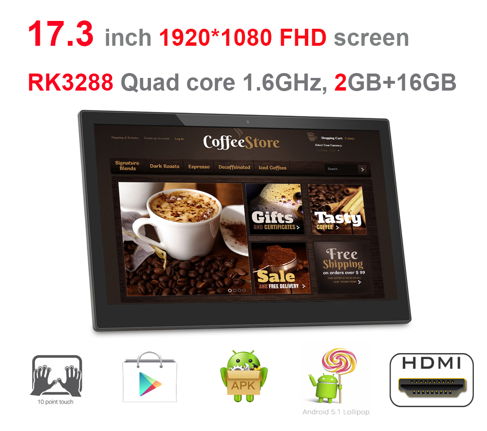 17.3 inch Android smart kiosk, digital signage display, all in one pc (RK3288, Quad core, Lollipop, 2GB DDR3, 16GB, wifi, RJ45)