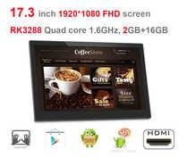 Kiosko inteligente Android de 17,3 pulgadas, pantalla de señalización digital, pc todo en uno (RK3288, Quad core, Lollipop, 2GB DDR3, 16GB, wifi, RJ45)