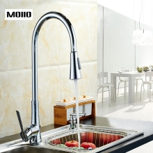 MOIIO Pull Out Kitchen Faucet Single handle Brass Gooseneck Mixer Tap free shipping Deck Mounted kitchen faucets
