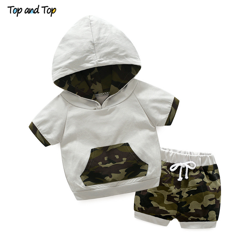 Top And Top Toddler Baby Boys Clothing Sets Summer Bebe Cotton Hoodies Pullover Top+Shorts 2Pcs Suit Casual Camouflage Tracksuit