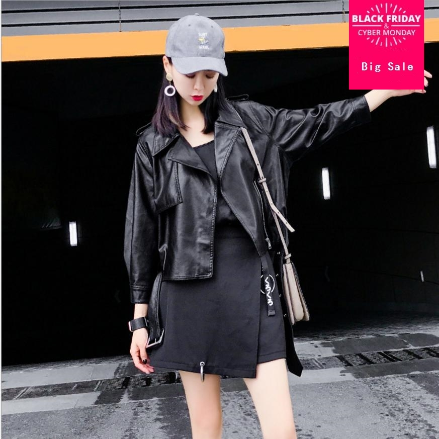 2018 spring and autumn new Korean wild pu   leather   female jacket short motorcycle   leather   coat turn-down collar slim jacket L226