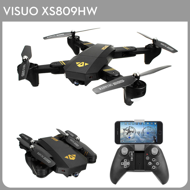 VISUO XS809HW Foldable Selfie Drone Wifi FPV 2.0MP 720P 120 FOV Wide Angle HD Camera 2.4G Height Hold G-Sensor RTF RC Quadcopter jjrc h47 mini drone with 720p hd camera elfie plus g sensor control foldable rc pocket selfie dron wifi fpv quadcopter helicopte