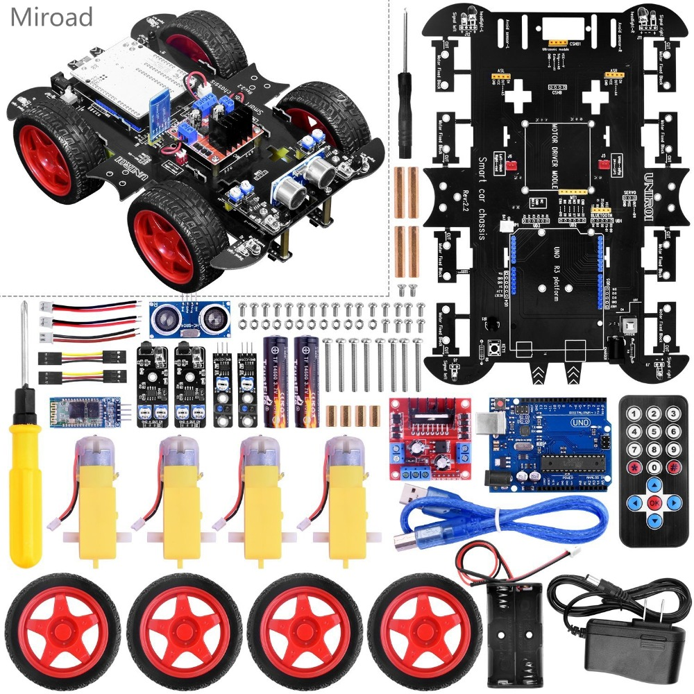 цена на UNIROI Smart Robot Car Kit for Arduino UNO with 4 wheel drive,Infrared and Ultrasonic Obstacle Avoidance,Infrared Tracking UA060