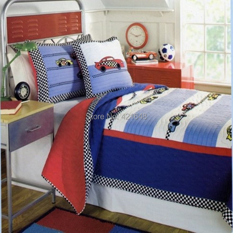 free shipping speed racer kids bedding set racing driver boys bedding set car handmade applique patchwork