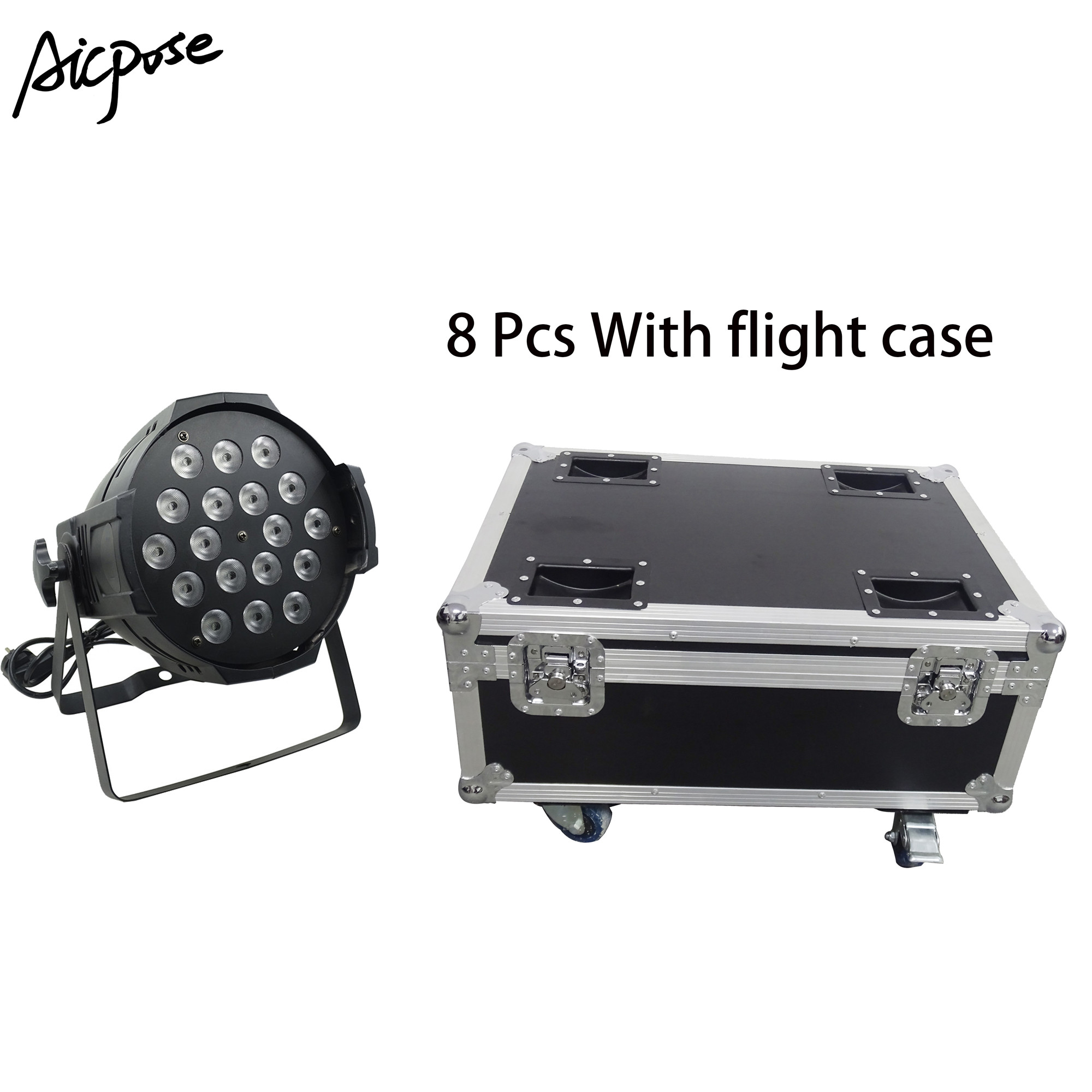 8pcs 18*12w Power In And Out  LED Par Lights 18x12W RGBW 4in1 Par 64 Led Spotlight Dj Projector Stage Light With Flight Case