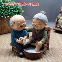 Concomitant happiness with each other Old couple Foot washing tank Ornament dolls statues Home decoration dies